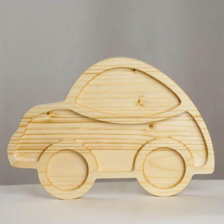 Tăviță din lemn masiv de molid, sub formă de mașinuță, patru compartimente, vedere frontală studio.