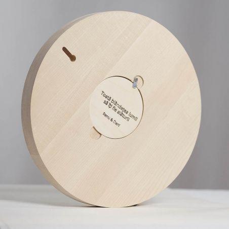 Pata de Culoare - ceas lemn masiv de perete, vedere din spate