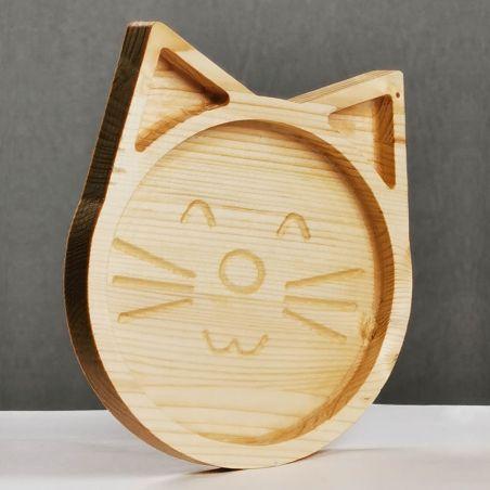 Tăviță din lemn masiv de molid, sub formă de pisicuță, vedere laterală studio.
