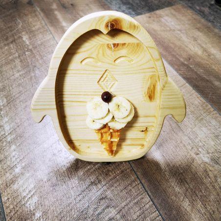 Tăviță din lemn masiv de molid, sub formă de pinguin, un compartiment, vedere frontală ambient 2.