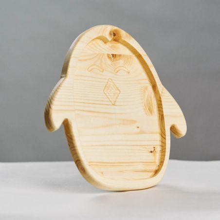 Tăviță din lemn masiv de molid, sub formă de pinguin, un compartiment, vedere laterală studio.