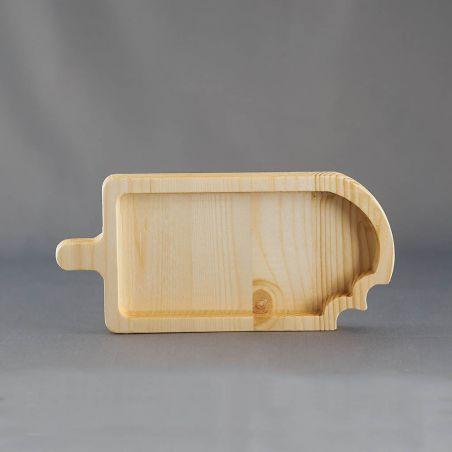 Tăviță din lemn masiv, sub formă de înghețată, un compartiment, vedere frontală studio 2