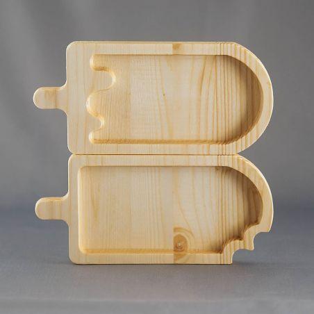 Set 2 tăvițe din lemn masiv, sub formă de înghețată, un compartiment, vedere frontală studio 1