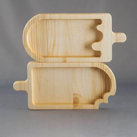 Set 2 tăvițe din lemn masiv, sub formă de înghețată, un compartiment, vedere frontală studio 2