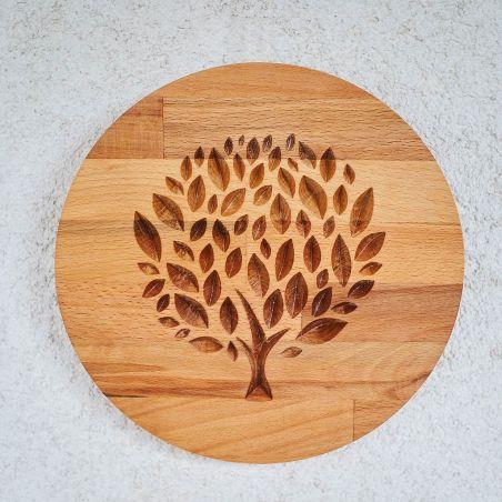 panou decorativ din lemn masiv, frezat cu copacul vietii, vedere frontala