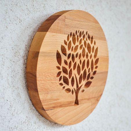 panou decorativ din lemn masiv, frezat cu copacul vietii, vedere din profil