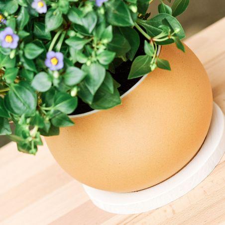 Ghiveci minimalist mărimea M, pentru flori de apartament, realizat prin imprimare 3d din lemn.