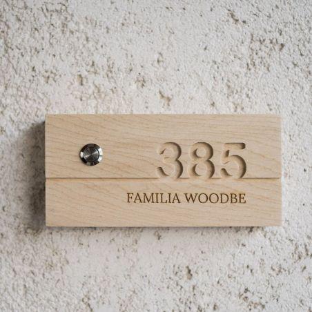 numar de apartament din lemn masiv cu sonerie wireless