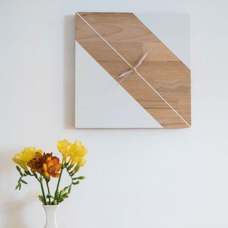 Rectangular - ceas lemn masiv de perete, vedere frontala