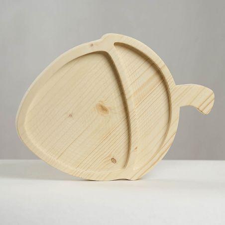 Tăviță din lemn masiv de molid, sub formă de alună, două compartimente, vedere frontală studio 2.