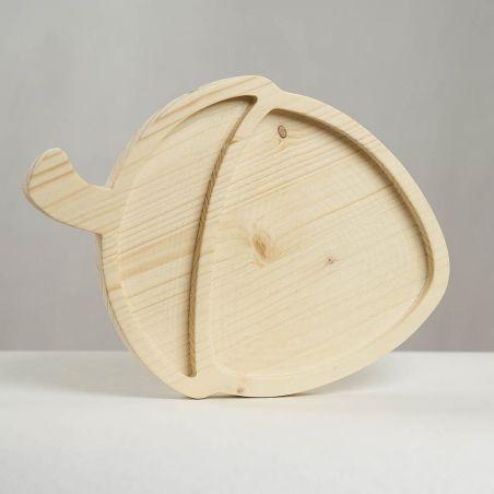 Tăviță din lemn masiv de molid, sub formă de alună, două compartimente, vedere frontală studio.