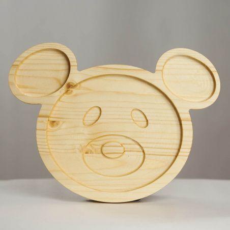 Tăviță din lemn masiv de molid, sub formă de ursuleț, trei compartimente, vedere frontală studio.